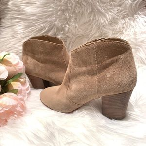 Club Monaco Brooklyn Taupe Suede Ankle Booties